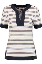 Tory Burch Zora Striped Cotton Blend And Slub Linen Top Ivory