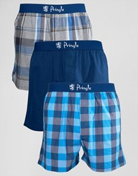 Pringle Woven Boxer 3 Pack In Navy Navy