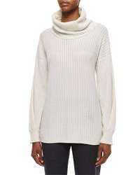 Agnona Mini Cable Knit Cowl Neck Cashmere Sweater Neve White
