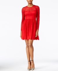 Guess Illusion Lace Open Back Fit And Flare Dress Red