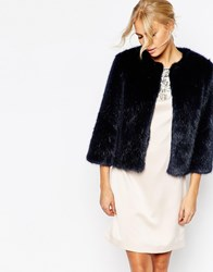 Ted Baker Forysia Cropped Faux Fur Jacket Midblue