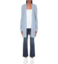 The White Company Rib Detail Long Line Cardigan Blue