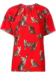 Dolce And Gabbana Bengal Cat Print Blouse Red