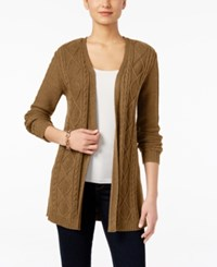Karen Scott Lightweight Cable Knit Duster Cardigan Only At Macy's Chestnut Heather