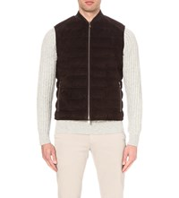 Corneliani Quilted Suede Gilet Brown