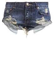 One Teaspoon Tiger Bandits Denim Shorts Tiger Blue