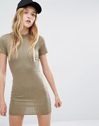 Daisy Street Bodycon T Shirt Dress In Rib Khaki Green