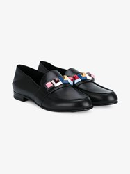 Fendi Block Embellished Leather Shoes Black Multi Coloured Denim