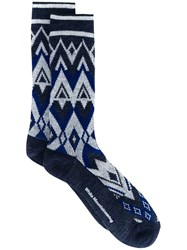 White Mountaineering Fair Isle Knit Socks Blue