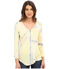 Calvin Klein Jeans Long Sleeve Front Zip Lemon Ice Women's T Shirt Yellow