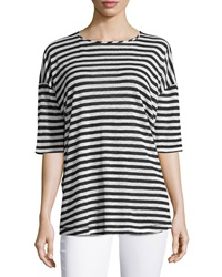 Derek Lam 10 Crosby Tulip Back Striped Tee Midnight White