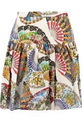 Dolce And Gabbana Gathered Printed Cotton Mini Skirt Black