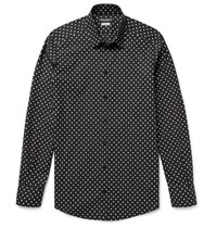 Dolce And Gabbana Slim Fit Polka Dot Cotton Poplin Shirt Black