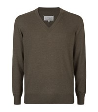 Maison Martin Margiela V Neck Leather Elbow Patch Sweater Male Brown