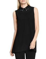 Vince Camuto Sleeveless Embellished Collar Blouse Black