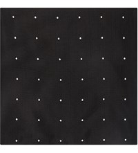 Duchamp Polka Dot Silk Pocket Square Black