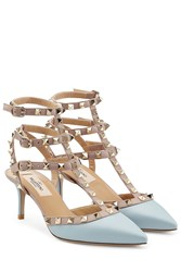 Valentino Rockstud Leather Kitten Heels Blue