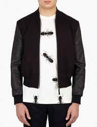 Paul Smith Navy Cashmere And Leather Bomber Jacket