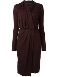 Plein Sud Jeans Long Sleeve Wrap Dress Pink And Purple
