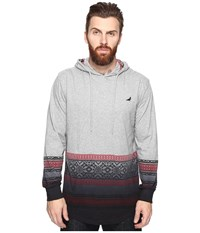 Staple Fair Isle Hooded Dip Tee Heather Grey Men's T Shirt Gray