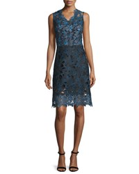 Elie Tahari Savon Sleeveless Floral Lace A Line Dress Navy