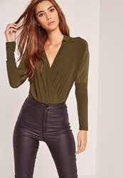 Missguided Jersey Blouse Bodysuit Green Olive