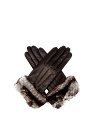 Agnelle Sonia Rabbit Fur And Leather Gloves Black
