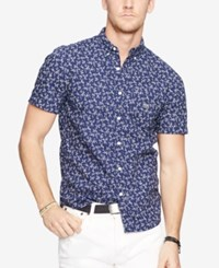 Denim And Supply Ralph Lauren Floral Print Sport Shirt Blue