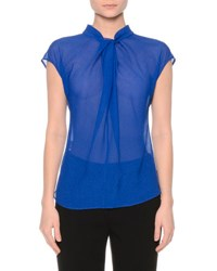 Giorgio Armani Gathered Organza Cap Sleeve Top Egyptian Blue