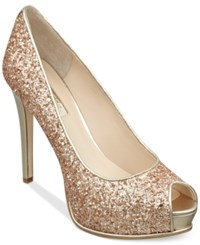 Guess Women's Honoran Glitter Platform Pumps Women's Shoes Gold Glitter