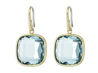 Michael Kors Botanicals Silver Pave Turquoise Triangle Motif Stud Blue Citrine Earring