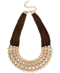 Macy's M. Haskell Gold Tone Brown Bead And Crystal Necklace