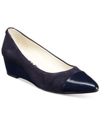 Anne Klein Valicity Wedge Dress Pumps Navy Suede