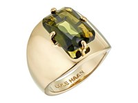 Cole Haan Large Emerald Stone Ring Gold Khaki Ring