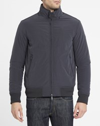 Armani Jeans Navy Side Logo Quilted Bomber Jacket Blue