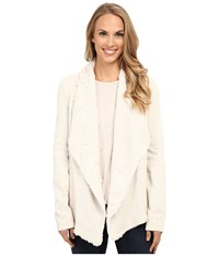 Dylan By True Grit Luxe Fleece Drape Jacket W Fur Lining Vintage White Heather Women's Coat