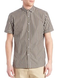Kent And Curwen Windowpane Checked Shirt Olive