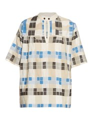 Ace And Jig Saltspring Woven Cotton Top Blue Multi