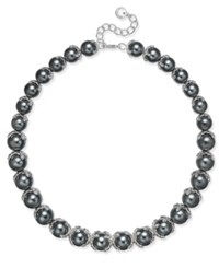 Charter Club Imitation Pearl And Crystal Collar Necklace Only At Macy's Silver