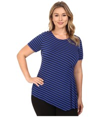 Vince Camuto Plus Size Short Sleeve Stripe Pulse Side Ruched Top Optic Blue Women's Clothing