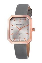 Akribos Xxiv Women's Quartz Genuine Diamond Strap Watch Beige