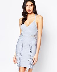 Forever Unique Cosmo Bandage Dress With Lattice And Fringing Blue