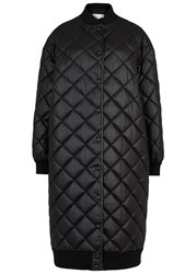 Stella Mccartney Marisa Black Quilted Faux Leather Coat