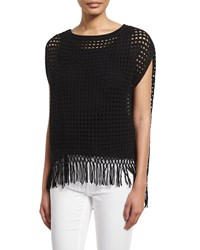 Elie Tahari Pandora Crochet Sweater With Fringe Hem Men's Size Med Lg 8 14 Antique Black