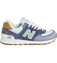 New Balance 574 Panelled Suede Trainers Blue Teal Beach