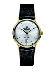Hamilton American Classic Intra Matic Auto Goldtone Stainless Steel And Leather Strap Watch Black