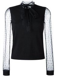 Red Valentino Polka Dots Sheer Longsleeved Sweater Black