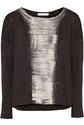 Kain Label Chelsea Printed Cotton And Modal Blend Top Black