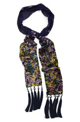 Collection Xiix Women's 'Folk Floral' Tassel Skinny Scarf Navy Night