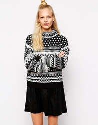 Monki Intarsia High Neck Jumper Black
